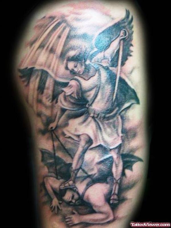 Archangel And Devil Tattoo Design
