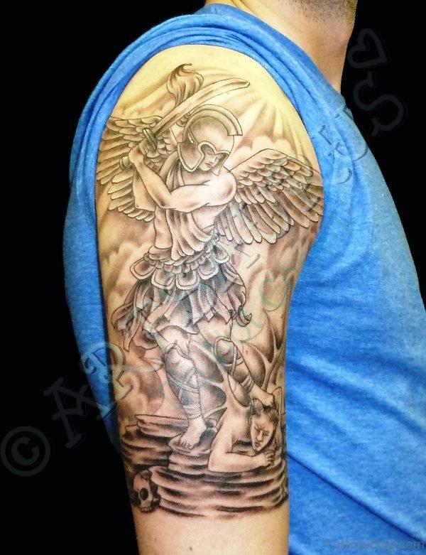 Archangel Holding Sword Tattoo On Shoulder