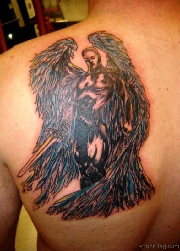 Archangel Tattoo On Back Shoulder