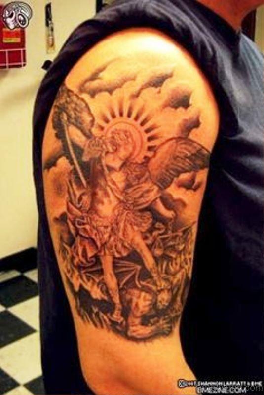Archangel Tattoo On Shoulder Pic