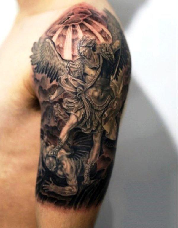 Archangel With Devil Tattoo On Shoulder
