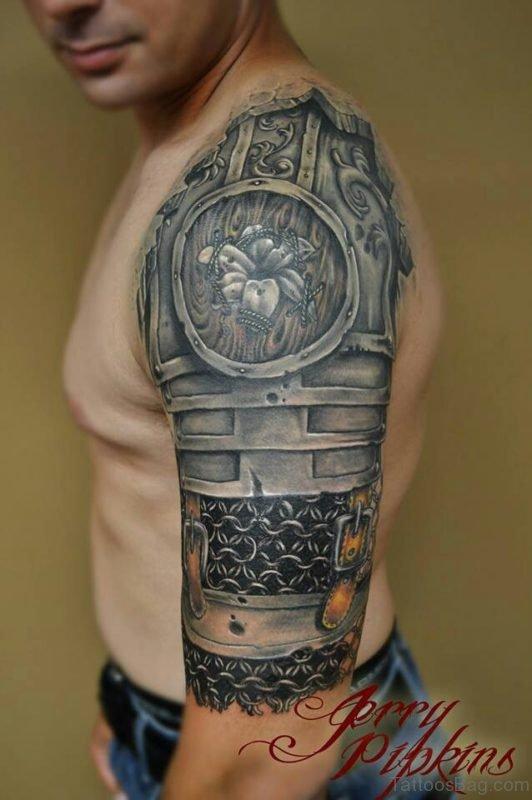Armor Tattoo Design On Bicep