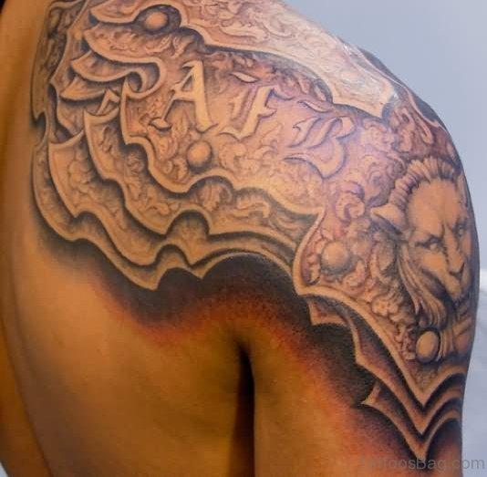 Armor Tattoo On Shoulder