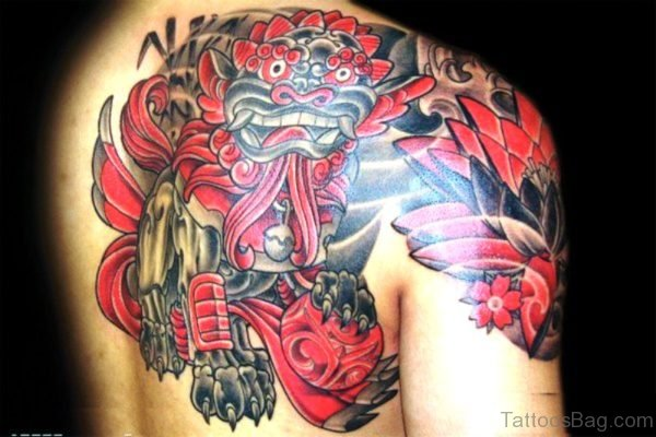 Asian Style Dragon Tattoo On Shoulder