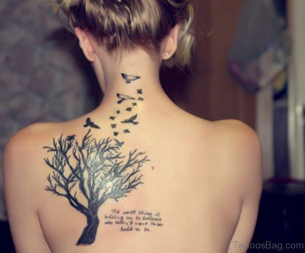 Atractive Tree Tattoo On BAck
