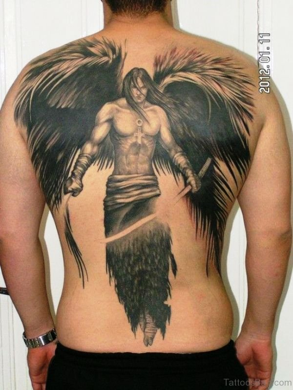 Attractive Angel With Wings Tattoo On Back