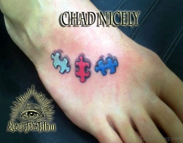 Attractive Autism Tattoo On Foot