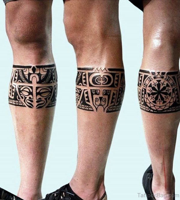 Attractive Band Tattoo On Leg