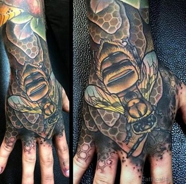 Attractive Bee Tattoo On Hand