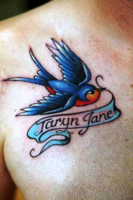 Attractive Blue Bird Tattoo On Chest