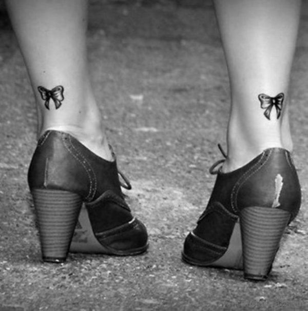 Attractive Bow Tattoo On Ankle