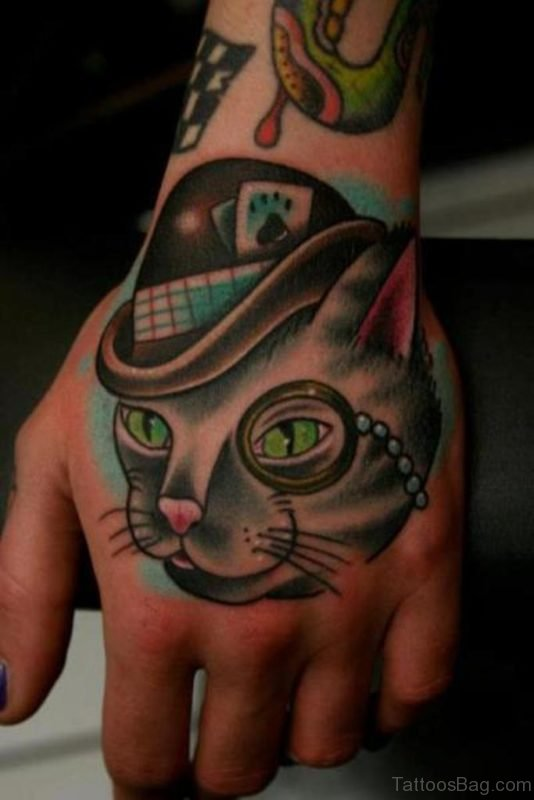 Attractive Cat Tattoo On Hand