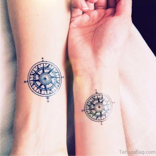Attractive Compass Tattoo Design On Wrist