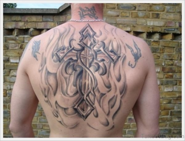Attractive Crooss Tattoo Design On Back