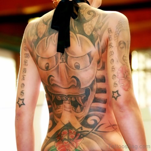 Attractive Devil Tattoo On Back Body