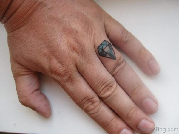 Attractive Diamond Tattoo On Finger