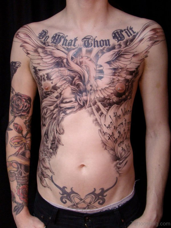 Attractive Eagle Tattoo Design On Chest