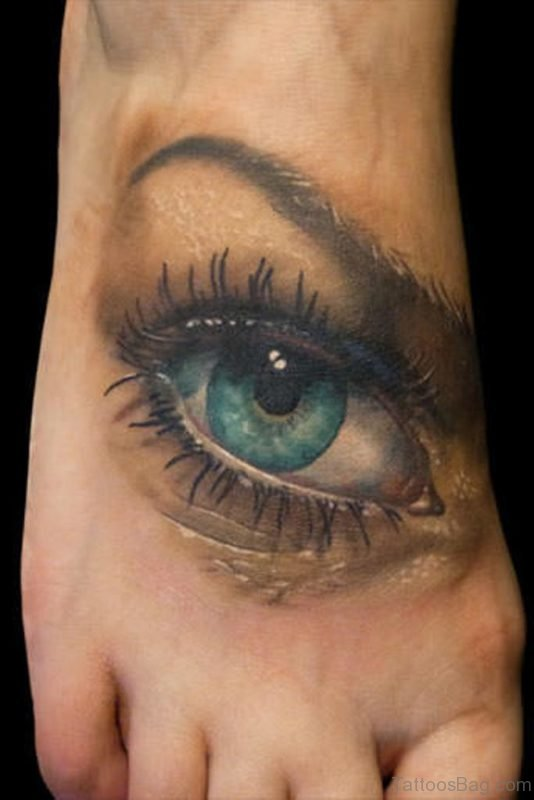 Attractive Eye Tattoo On Foot