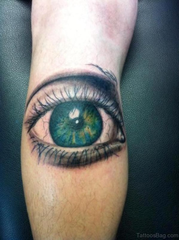 Attractive Eye Tattoo On Leg