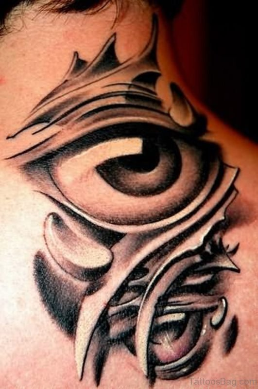 Attractive Eye Tattoo On Nape