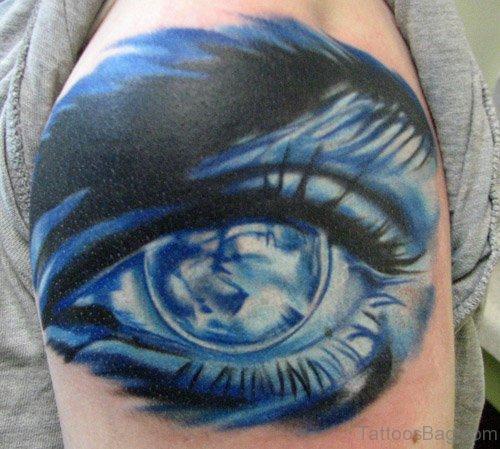 Attractive Eye Tattoo On Shoulder