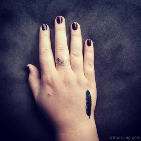 Attractive Feather Tattoo On Hand