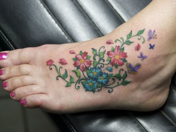 Attractive Flower Tattoo On Foot