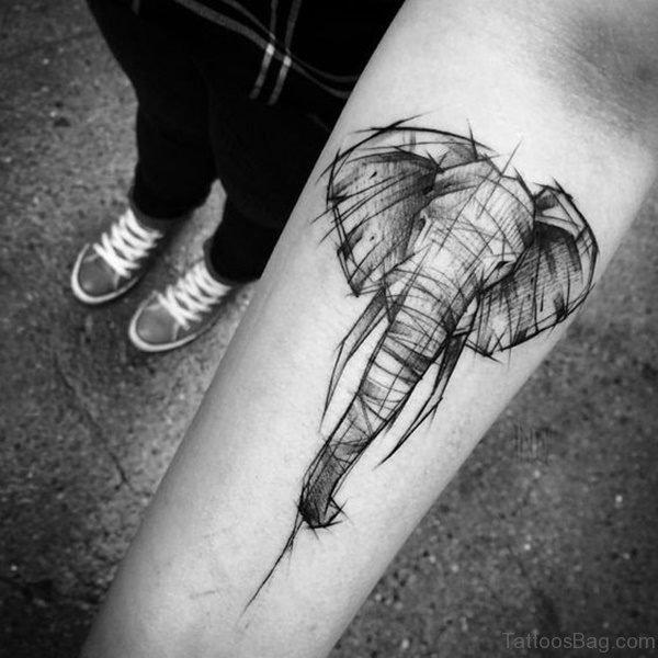 Attractive Forearm Elephant Tattoo