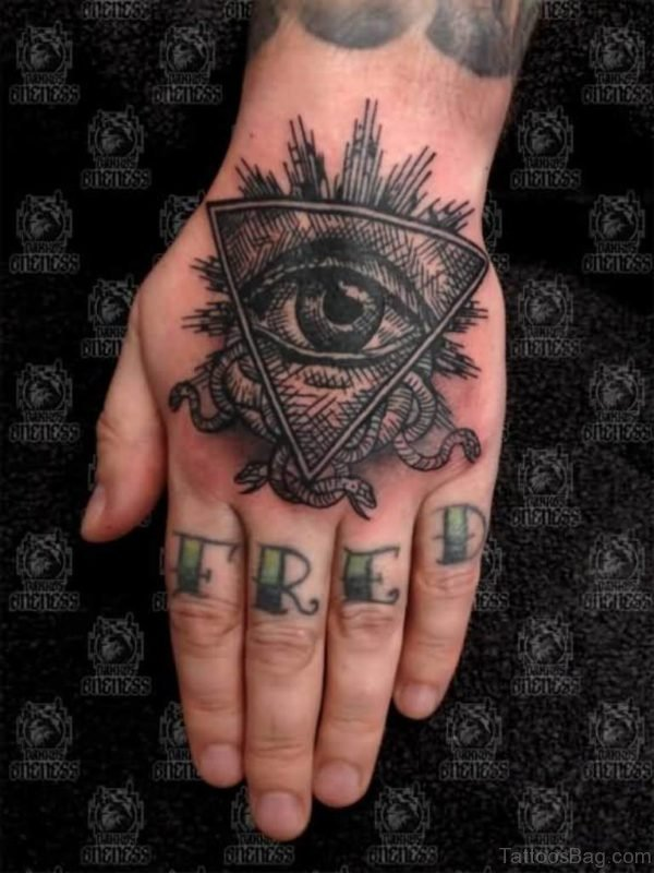 Attractive Illuminati Evil Eye Tattoo On Hand