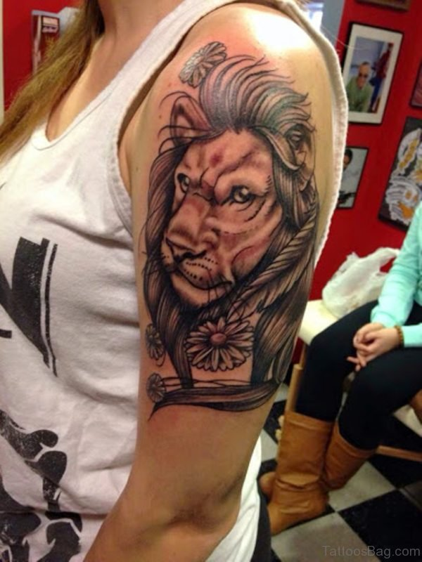 Attractive Lion Tattoo On Shoulder
