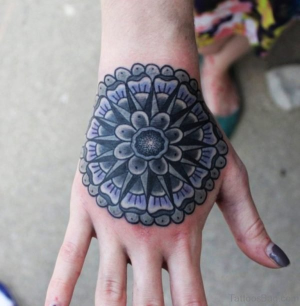 Attractive Mandala Tattoo On Hand