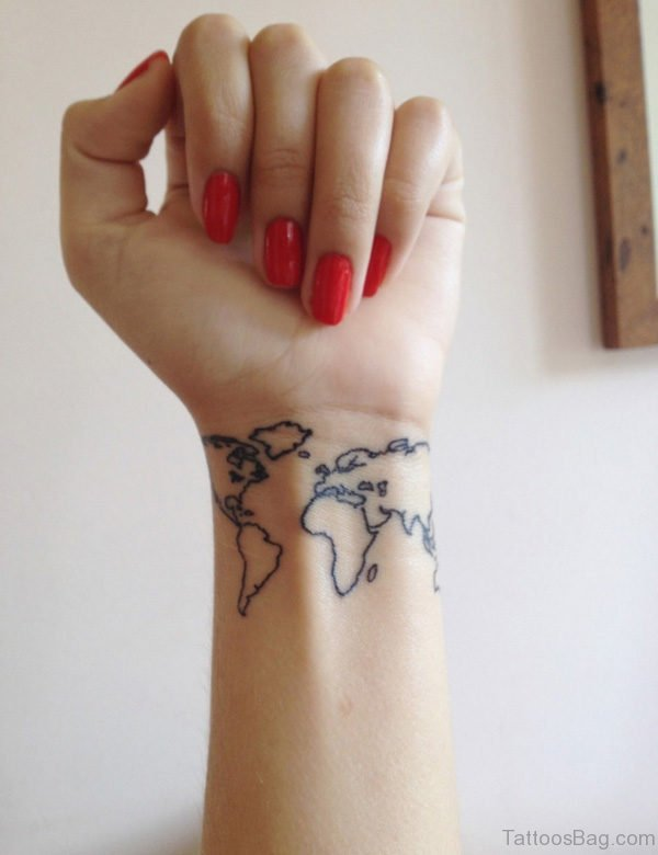 Attractive Map Tattoo On Wrist