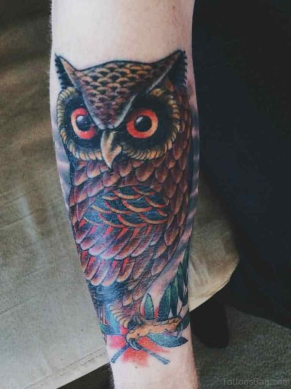 Attractive Owl Tattoo On Arm