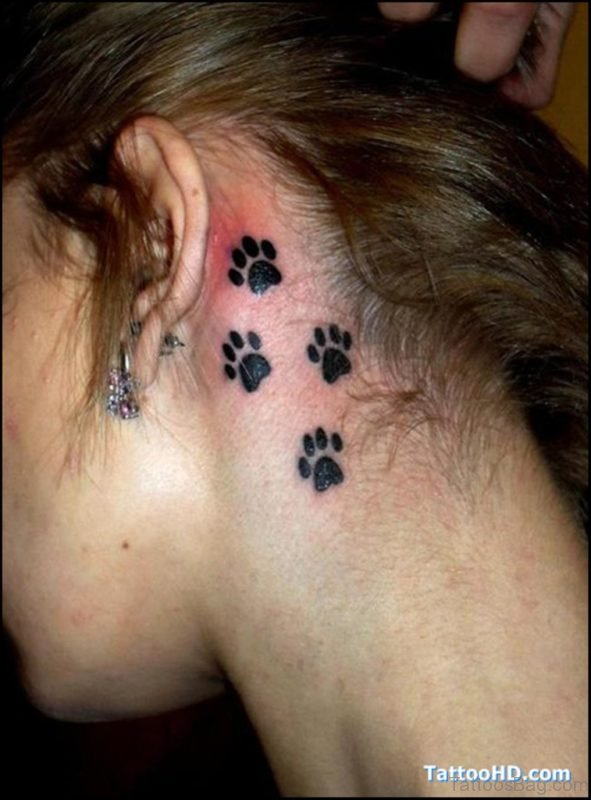 Attractive Paw Tattoo On Neck