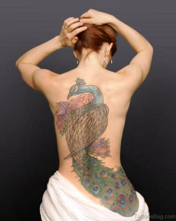 Attractive Peacock Tattoo On Back