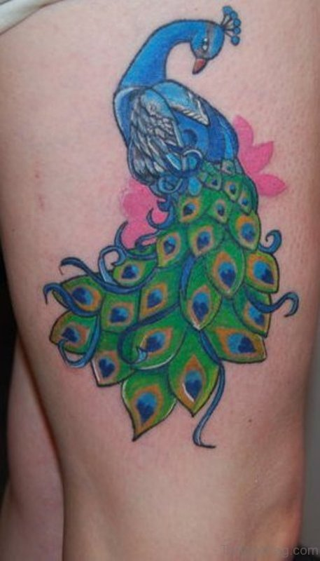 Attractive Peacock Tattoo On Thigh