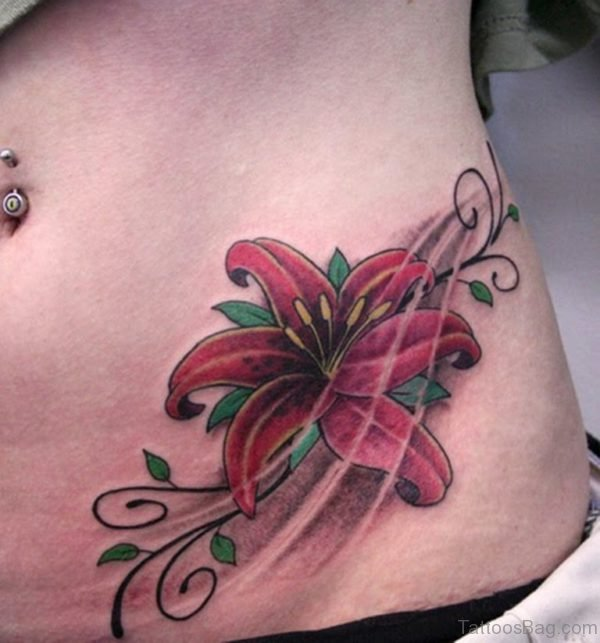 Attractive Red Lily Tattoo On Waist