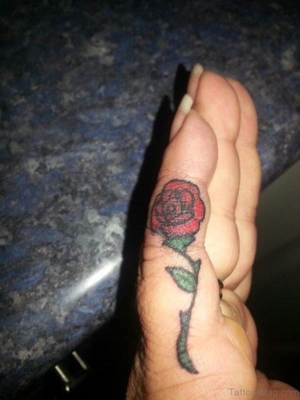 Attractive Rose Tattoo On Finger