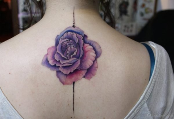 Attractive Rose Tattoo On Nape