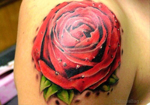 Attractive Rose Tattoo On Shoulder 1