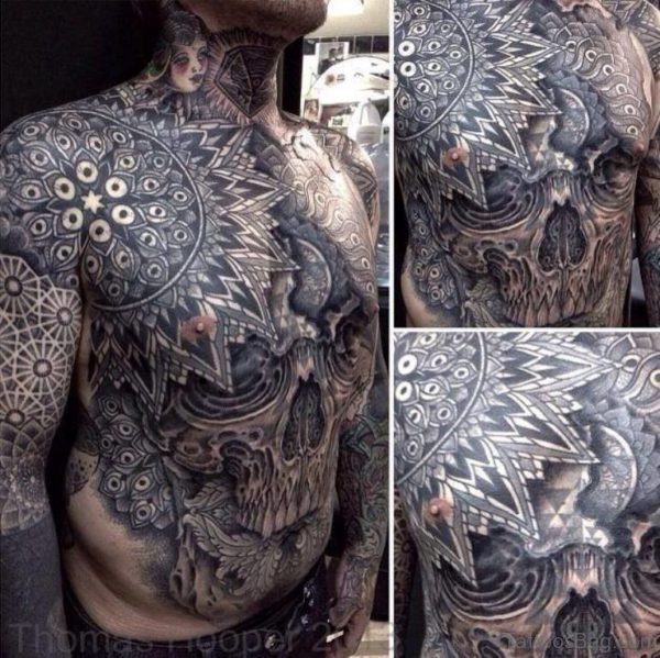 Attractive Skull Tattoo On Chest
