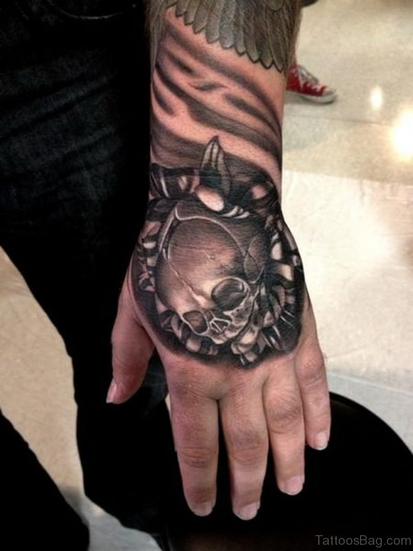 Attractive Skull Tattoo On Hand