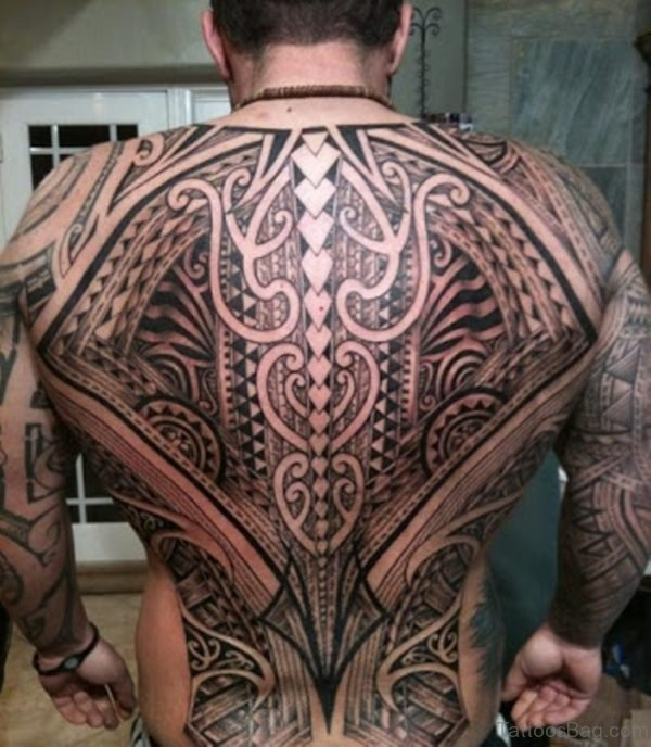 Attractive Tribal Tattoo On Full Back