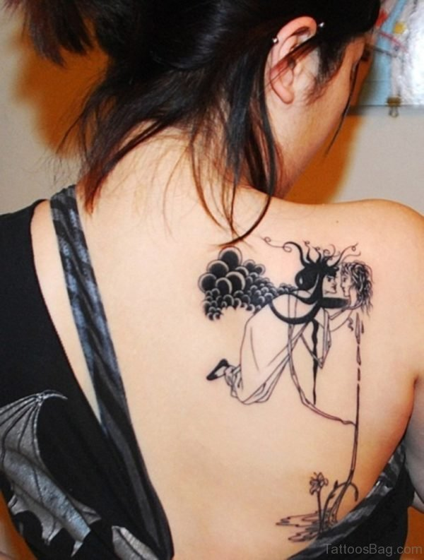 Attractive Upper Back Tattoo