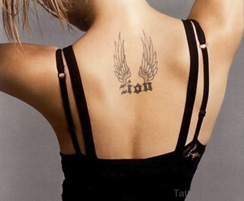 Attractive Wings Tattoo On Back