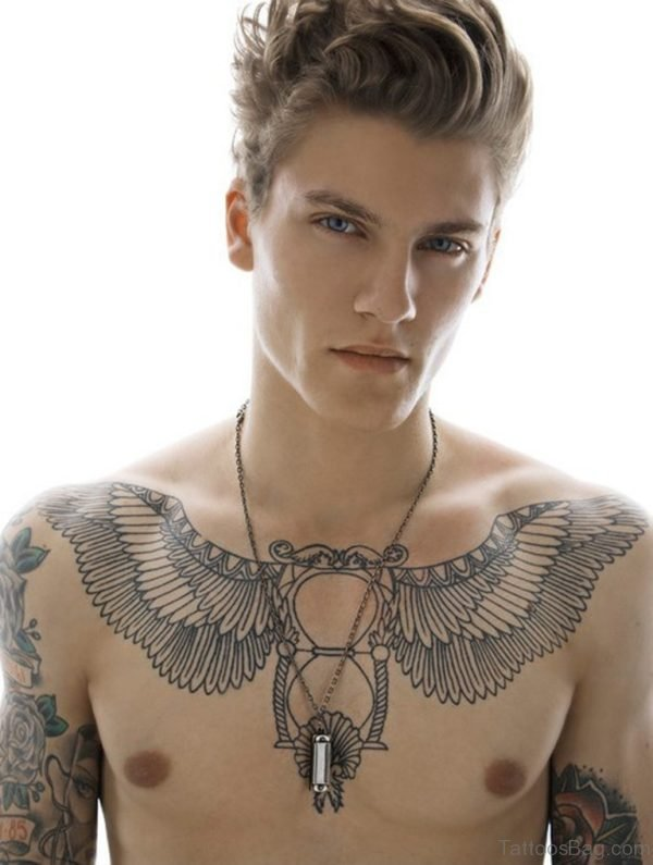 Attractive Wings Tattoo On Chest