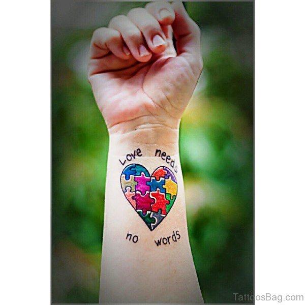 Autism Heart Shaped Tattoo Design