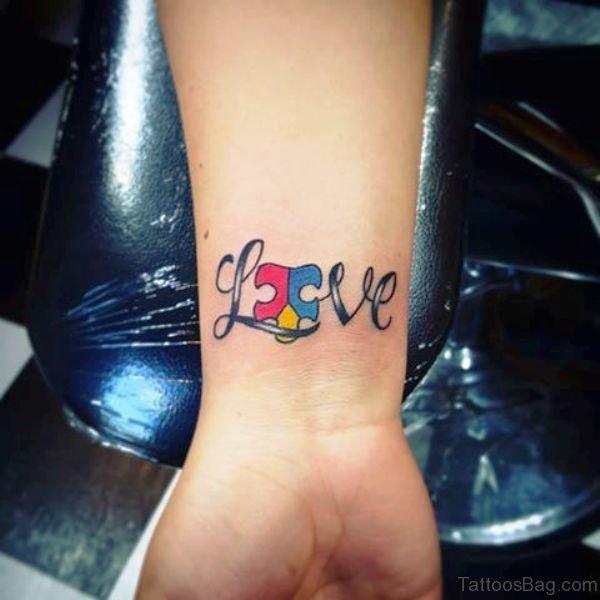 Autism Love Tattoo Design On Wrist