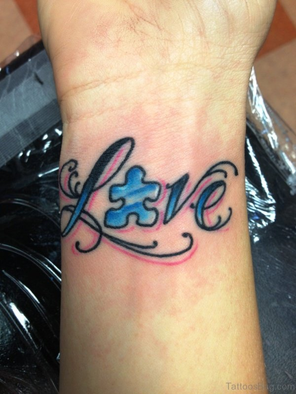 Autism Love Tattoo On Wrist