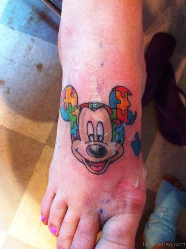 Autism Mickey Mouse Tattoo Design